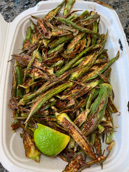 Chai Pani Okra fries with lime wedge for best Indian food in Asheville NC