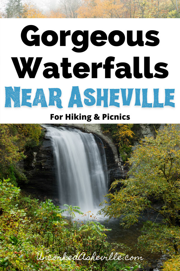 Gorgeous Hiking Waterfalls Near Asheville NC with picture of Looking Glass Falls in Pisgah National Forest