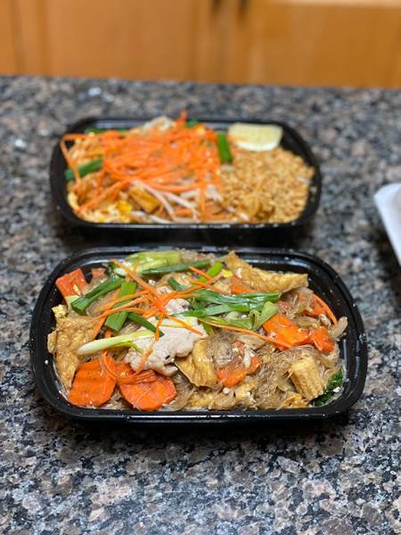 Suwana's Thai Orchid Asheville NC takeout containers with Pad Woon Sen and Pad Thai
