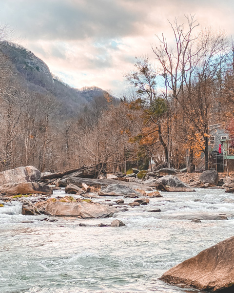 winter near Asheville Chimney Rock NC river at Hickory Nut Gorge Brewery