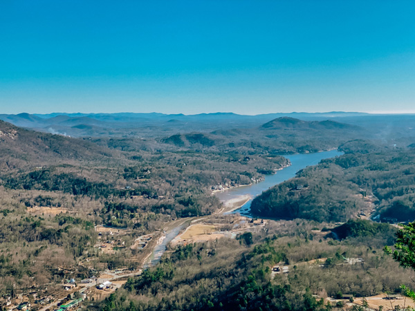 Chimney Rock View with town and lake below