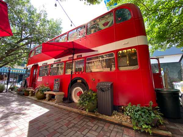 Double D's Coffee Asheville NC with vintage double-decker red bus that is a coffee shop with seating