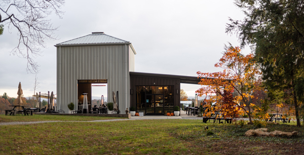 Marked Tree Vineyard Flat Rock NC with picture of winery building and outdoor seating