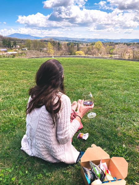 Stone Ashe Vineyards Hendersonville NC with white brunette woman drinking red wine on a grassy green hill with snack box