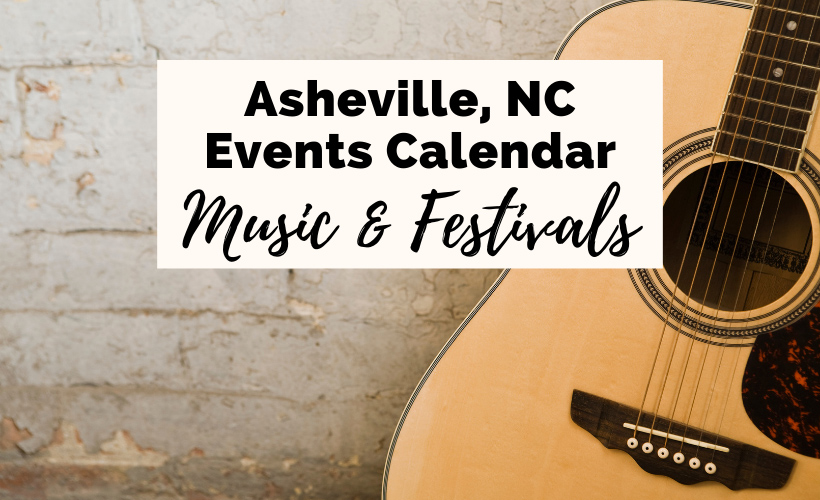 Asheville events calendar music and festivals with light brown guitar