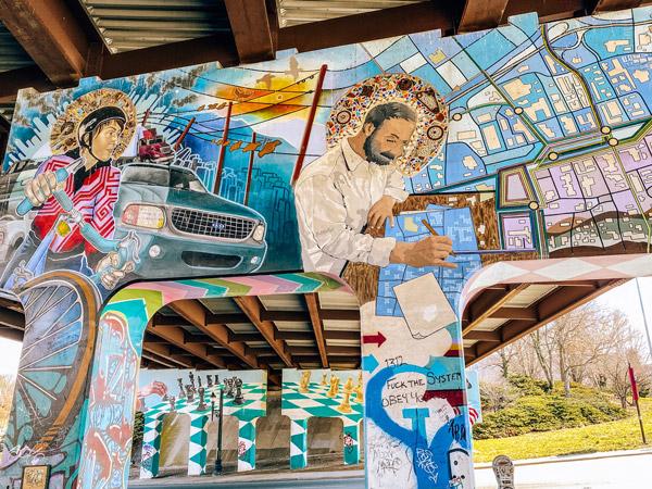 Asheville Lexington Gateway Murals with colorful portraits