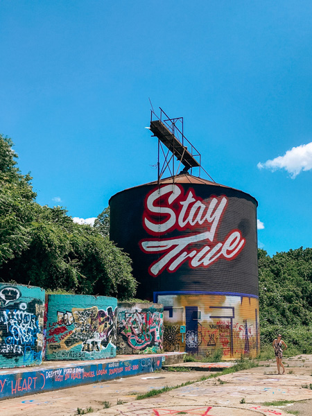 Asheville Silo Stay True slogan in River Arts District