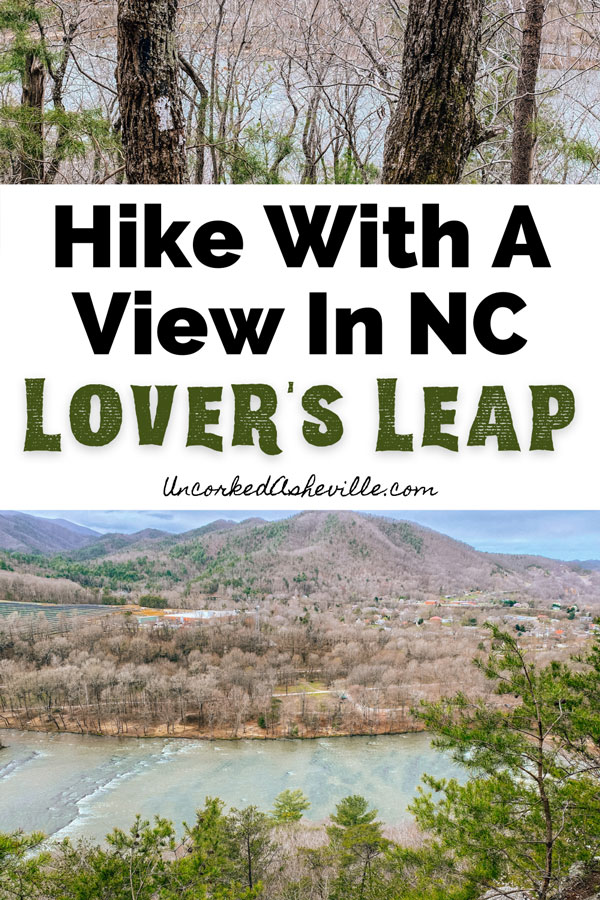 Lovers Leap Hike near Asheville NC with Appalachian Trail white blazes on trees and Lover's Leap Loop view of French Broad River