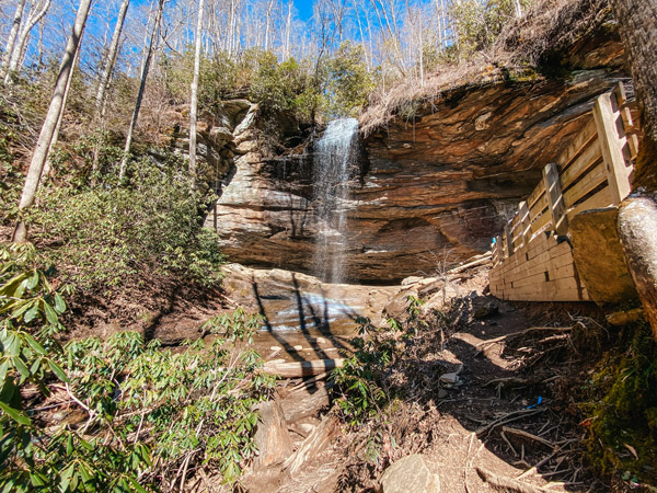Moore Cove Falls NC with 50 foot waterfall in front of a cove