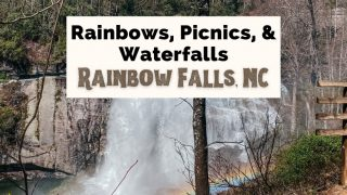 Rainbow Falls NC With Turtleback Falls Hike with picture of falls, trail with wooden railing, and waterfall