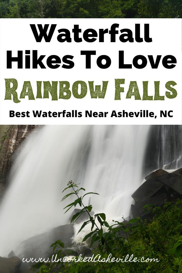 Rainbow Falls Near Asheville, NC Pinterest Pin with falls