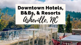 Where To Stay In Asheville NC Hotels, Resorts, B and Bs Ledge at Aloft in downtown Asheville with mountain view, heater, and tables and chairs