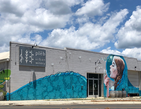 pleb urban winery Asheville NC with gray building and blue and turquoise mural of white brunette woman blowing a dandelion