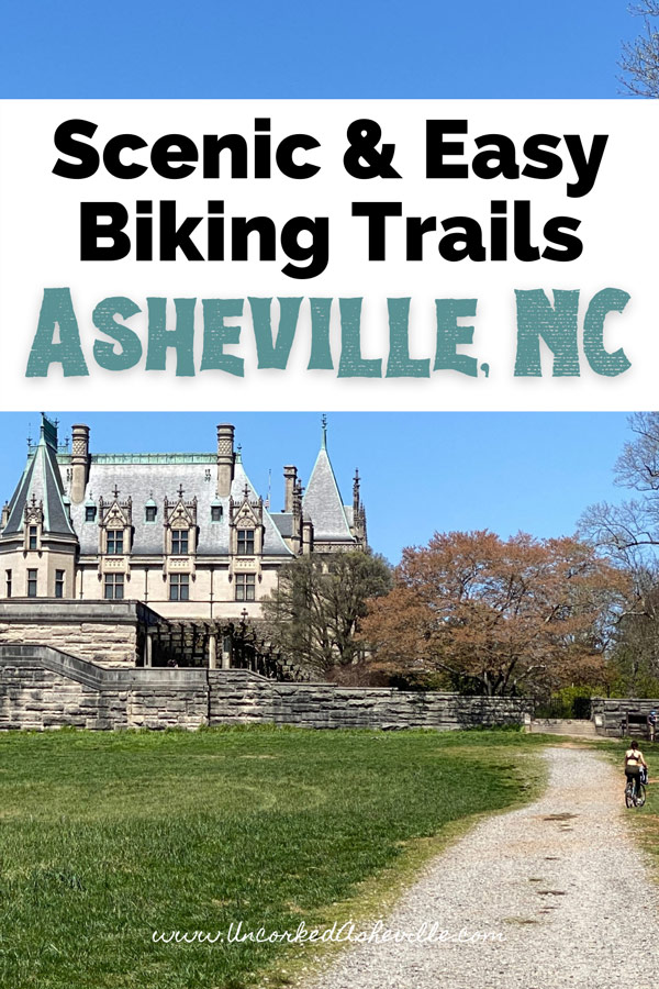 Asheville Bike Trails Pinterest Pin with Deer Park Trail at Biltmore Estate and white woman riding a mountain bike
