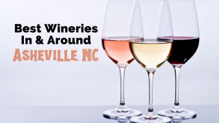 Asheville wineries and wineries near Asheville, NC with three glasses of pink, red and white wine