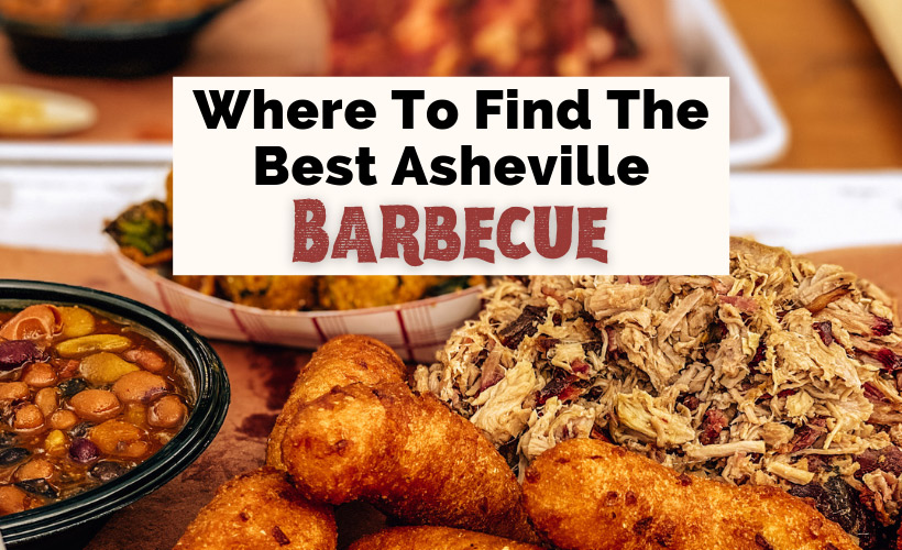 Best Asheville BBQ Restaurants NC with pulled pork, hushpuppies, fried okra, and beans from Luella's Bar-B-Que