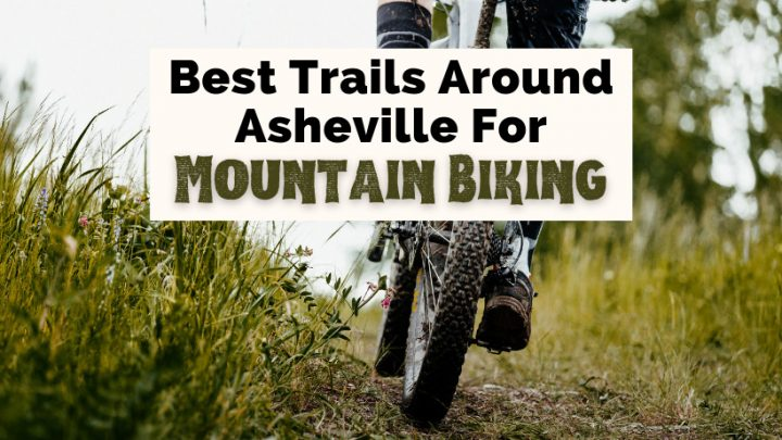 Best Asheville Mountain Biking Trails NC with mountain bike on trail surrounded by taller green grass
