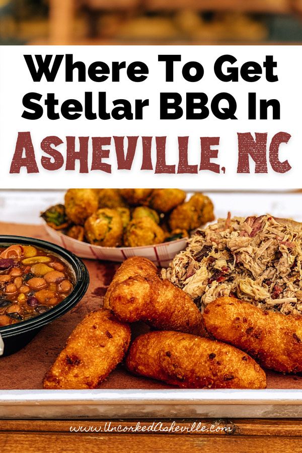 Best BBQ Asheville NC Pinterest Pin with pulled pork, hushpuppies, fried okra, and beans from Luella's Bar-B-Que