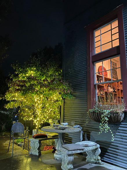 Chiesa Asheville Restaurant Outside seating in the dark