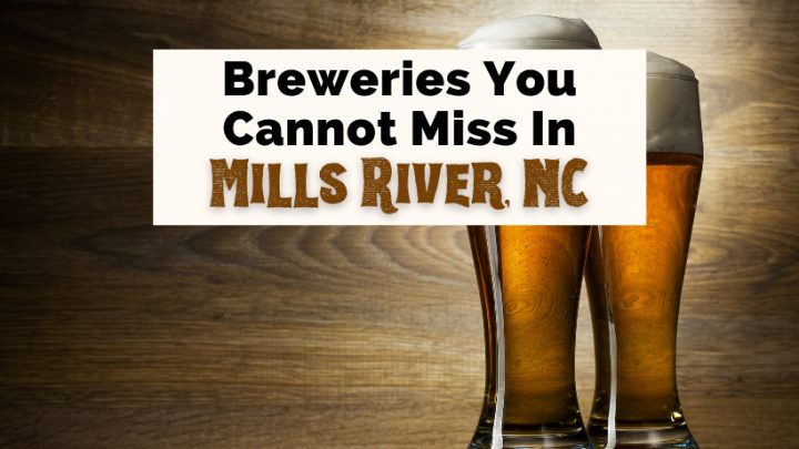 Mills River Breweries NC with two beer glasses filled with brown beer and foam