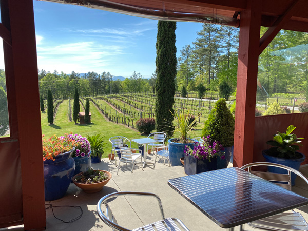 Overmountain Vineyards Tryon NC outdoor covered patio with silver tables, blue sky with clouds, and vineyards