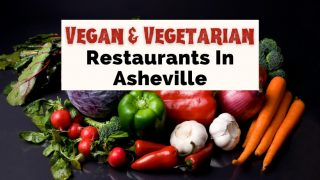 Vegetarian Vegan Restaurants Asheville with picture of raw vegetables like carrots, garlic, tomatoes, peppers, and lettuce