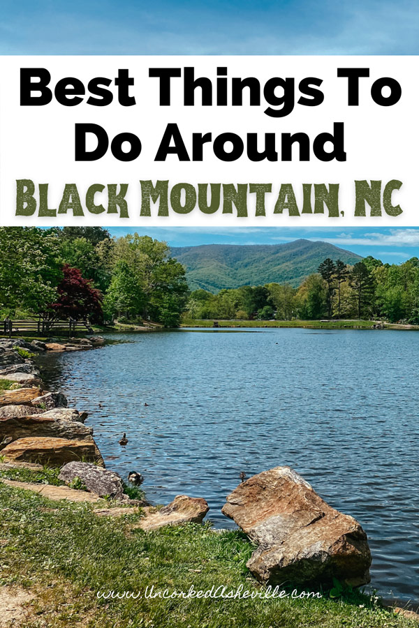 Best Things To Do In Black Mountain North Carolina Pinterest pin with picture of Lake Tomahawk
