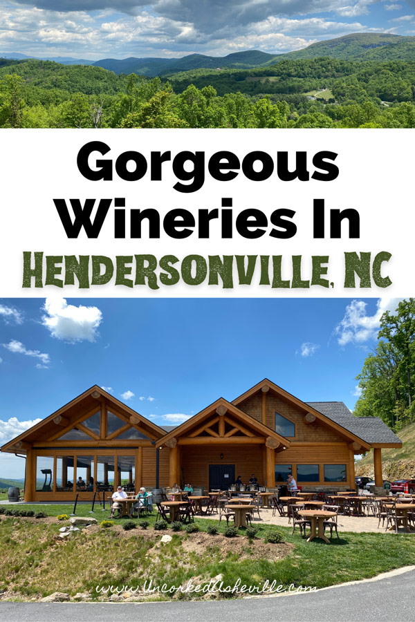 Best Wineries In Hendersonville NC Pinterest Pin with picture of Point Lookout Vineyards Tasting Room and mountain view