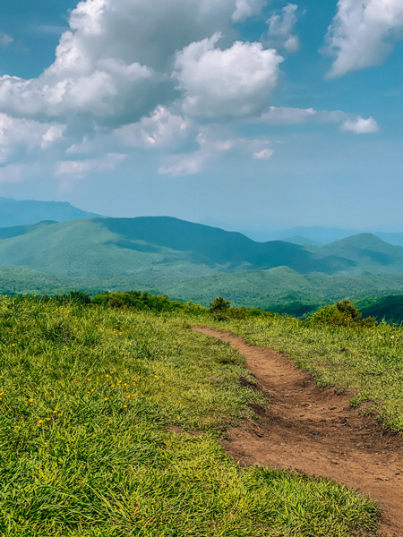 Max Patch Appalachian Trail with dirt pathway and blue green mountains at summit