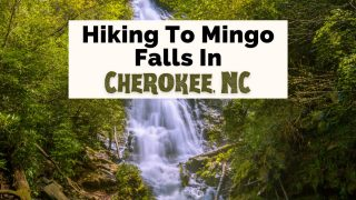Mingo Falls Cherokee NC with waterfall surrounded by green brush