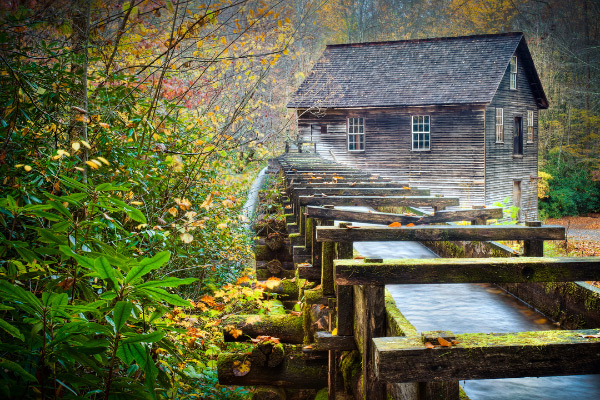 Mingus Mill Oconaluftee Visitor Center with mill during the fall