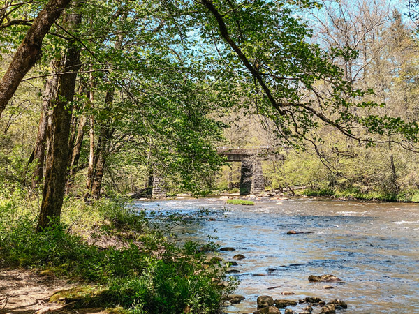 Oconaluftee River Trail NC with bridge and river