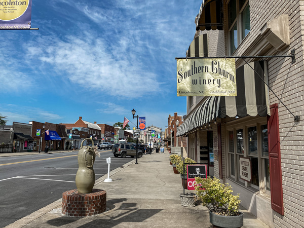 Southern Charm Winery Lincolnton NC downtown area with street and sign
