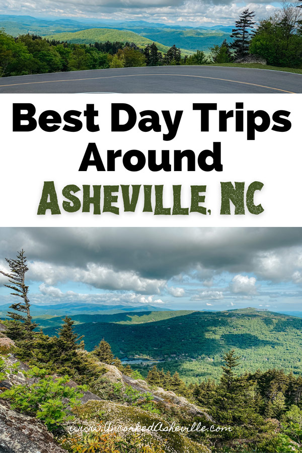 Asheville Day Trips Pinterest Pin with Forrest Gump curve in road and Mile High Swinging Bridge at Grandfather Mountain