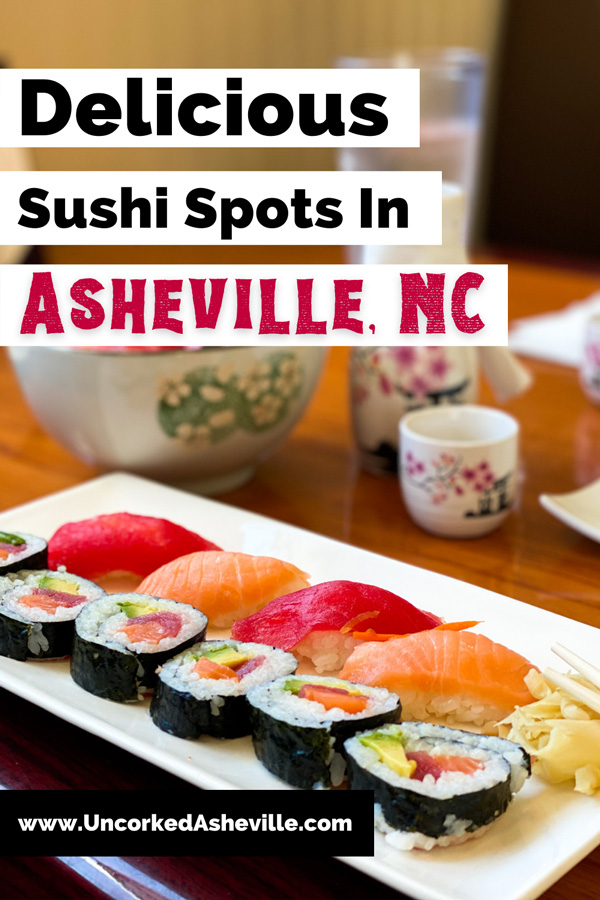 Best Asheville Sushi Restaurants with picture of tuna and salmon sashimi and salmon rolls from Mr. Sushi Asheville