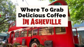 Best Coffee Shops In Asheville NC with Double Ds vintage red double decker bus and coffee shop