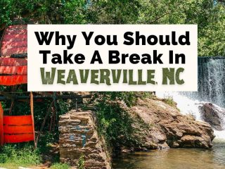 Best Things To Do In Weaverville NC with dam waterfall at Reems Creek with red water wheel