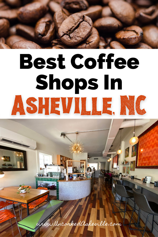 Coffee shops in Asheville North Carolina Pinterest Pin with coffee beans and PennyCup Coffee Co coffee shop North Asheville location