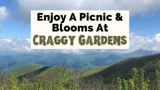 Craggy Gardens Trail Hike NC with picture of Blue Ridge Mountains and clouds with green grass