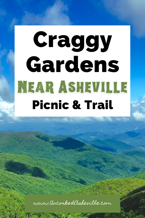 Craggy Gardens Trail and Hike Pinterest Pin with Blue and green Blue Ridge Mountains