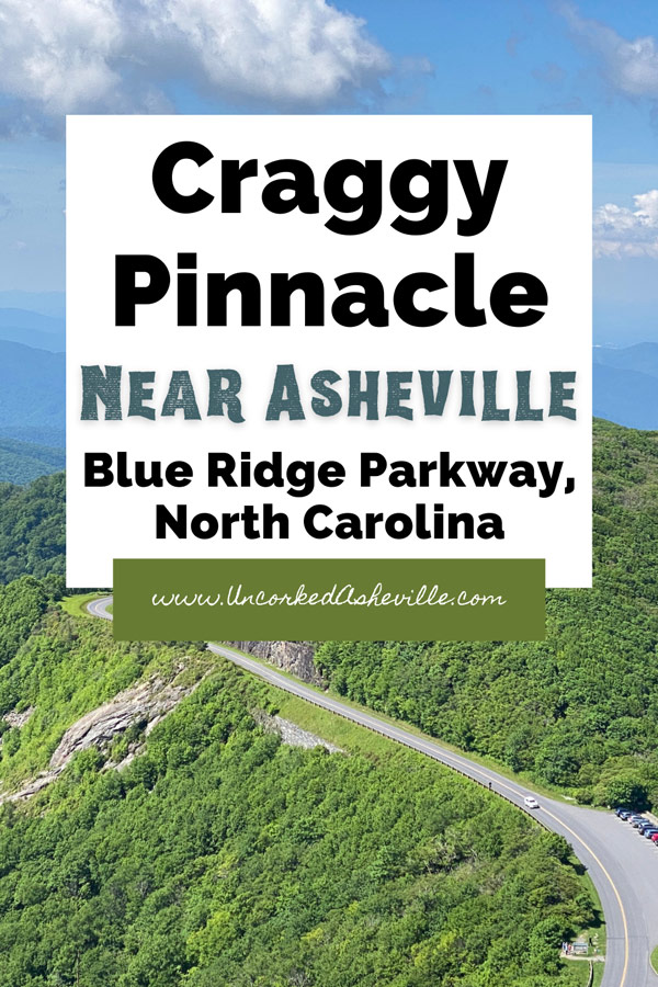 Craggy Pinnacle Blue Ridge Parkway NC Pinterest Pin with view from overlook over Blue Ridge Parkway and Craggy Gardens parking lot