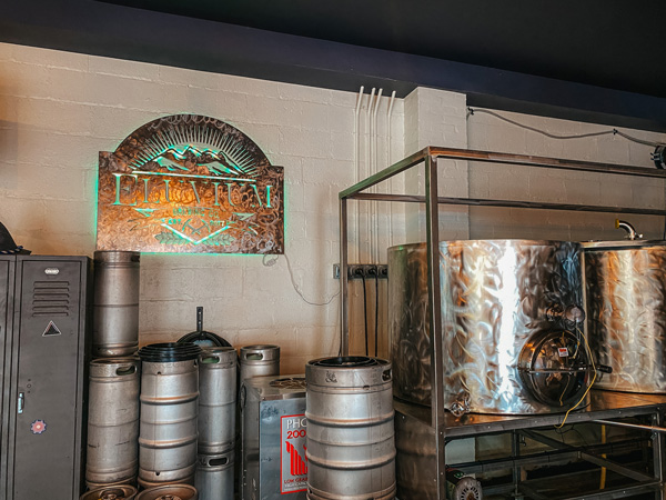 Eluvium Brewing Company with sign and steel brewing tanks