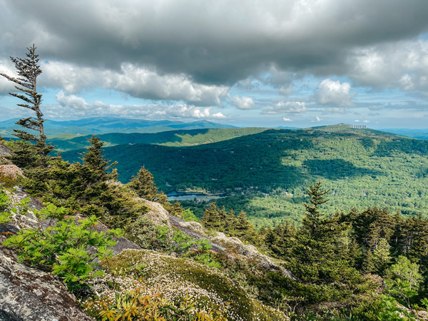 Grandfather Mountain Views from Mile High Swinging Bridge with blue and green mountain ranges