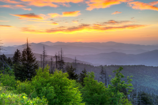 Great Smoky Mountains National Park purple mountain sunrise from Clingman's Dome
