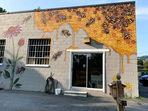 Honey and the Hive Mural Weaverville NC with rectangle building with honey, bee, and flower mural above door
