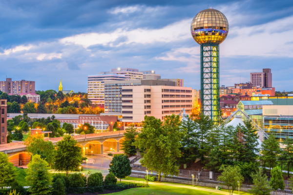 Knoxville Tennessee at twilight with city buildings