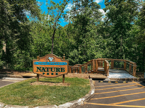 Main Street Nature Park Weaverville NC with sign and ramp to park