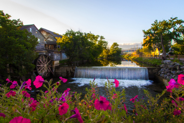 Pigeon Forge TN with waterfall and water mill