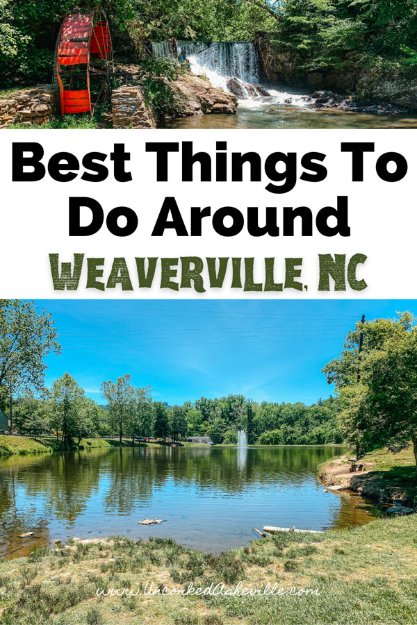 Things To Do In Weaverville NC Pinterest Pin with waterfall and red water wheel and Lake Louise Park
