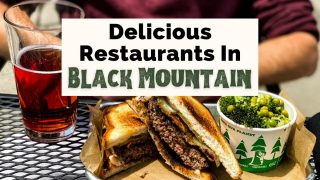 Best Black Mountain Restaurants with burger on gluten-free bun, red cider, and broccoli side